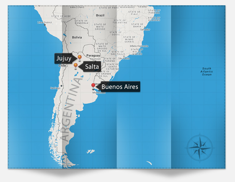 Photo Tour Argentina - South America map