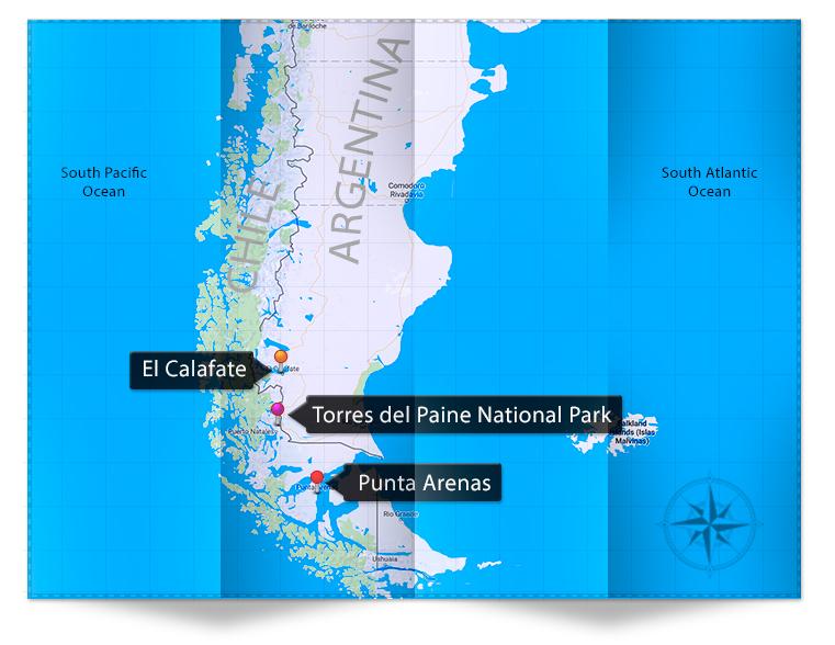 Patagonia Photography itinerary map